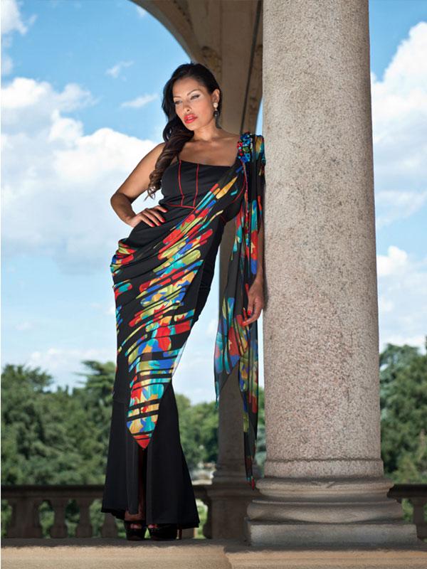 7b08ea232fe8 OverDose Vestito Donna Maxi abito Scollo barchetta Pizzo Elegante ...